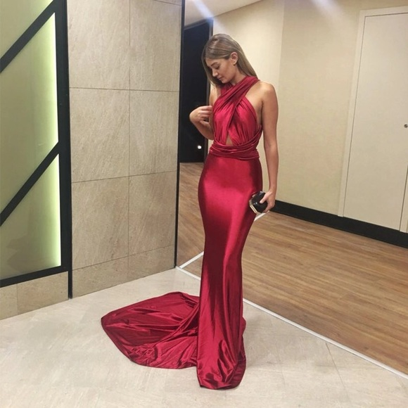 423624a956f5d Dresses | Red Shiny Backless Gown | Poshmark